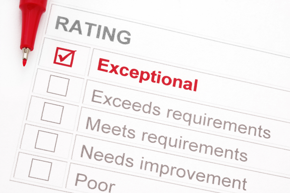 """Rating marked """"exceptional"""", with red pen.  Could be a customer service rating, performance appraisal, educational assessment, etc."""